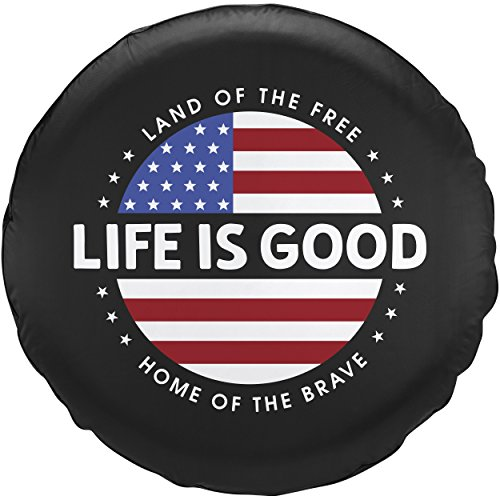 Best Life Cover - Life is Good Unisex Tire Cover Circle Flag Ngtblk, Night Black, 30