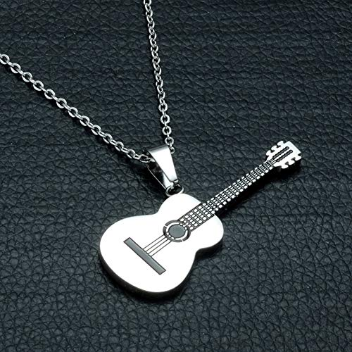 ocijf179 Stainless Steel Classical Guitar Pendant, Men Women Rock Guitar Pendant Stainless Steel Necklace Jewelry Musician Gift White