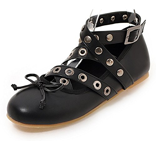 Mofri Women's Stylish Studded Buckle Straps Bowknot Ankle Wrap Round Toe Flats Pumps Shoes Black 4 B(M) US by Mofri