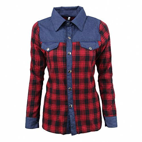 European 2017 New Arrival Women Shirt Turn-down Collar Plaid Denim Ladies Shirt Slim Casual Tops Ladies Blouse Chemise Femme Photo Color XL