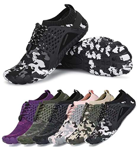 AMOCOCO Men's Women's Minimalist Trail Running Barefoot Shoes Wide Toe Box Quick Drying Beach Sneakers Black Dark Grey, 8 Women/6.5 Men