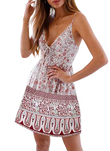 (CANIKAT Women's Summer V Neck Bohemian Floral Print Ruffle Spaghetti Strap Sleeveless Casual Swing A Line Beach Mini Dress White XL )