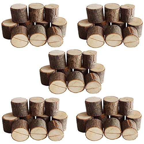 JINMURY Wedding Place Wooden Card Holders Rustic Wood Table Number Stands for Home Decor Wedding Party Table Decorations, 50 -