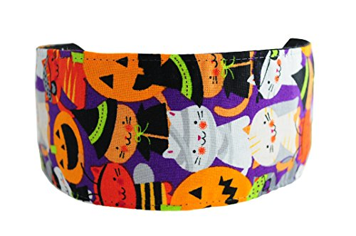 Halloween Headband, Kitties in Costume Over Purple, Pumpkins and Witches,soft Headband