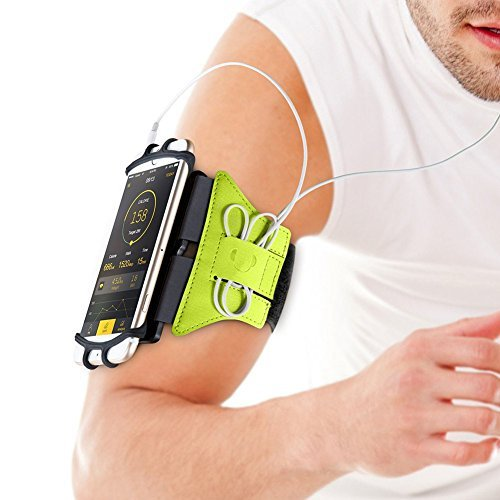 VUP Universal Running Armband for IPhone 7 7Plus 8 8Plus X 6 6S Plus SE, Galaxy S8 S7 J7 J3 S6 S5, Google pixel, LG V20 V30 G6 K20 G5 Stylo Aristo, HTC U11, MOTO G5 Compatible with Mobile Case (Green)