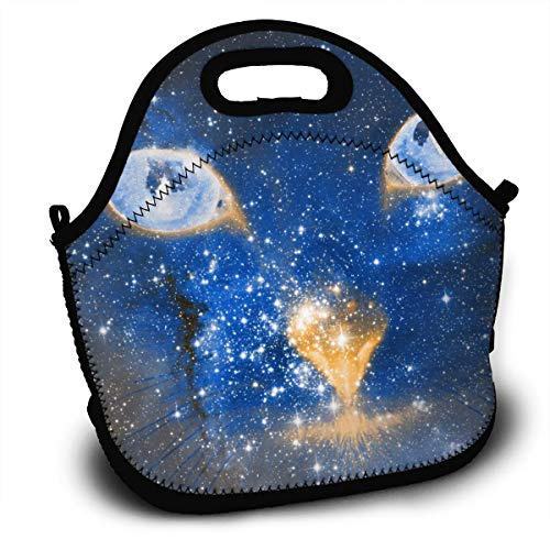 HeiZQheJ Blue Iris Light Cosmic Kitten Portable Lunch Bag Handbag with Shoulder Strap Lunch Box Lunch Storage Bags - Lite Iris