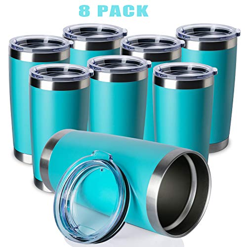 ONEB 20oz/8Pack Double Wall Vacuum Insulated Travel Mug, Stainless Steel Tumbler with Lid, Durable Powder Coated Insulated Coffee Cup for Cold & Hot Drinks (Light Blue, 8 Pack)