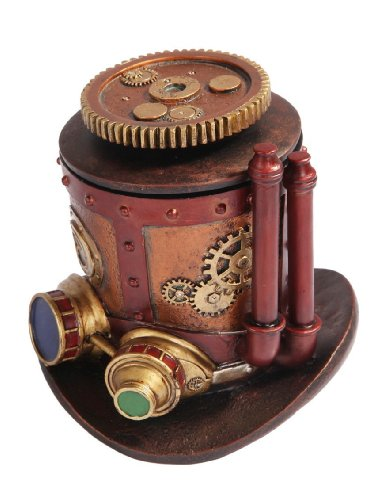 7 Inch Steampunk Themed Machinery Hat Jewelry/Trinket Box Figurine