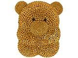 Crystal Gem Teddy Bear Clutch Formal Holiday Wedding Party Evening Bag in Glimmering Gold