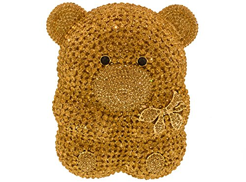 Crystal Gem Teddy Bear Clutch Formal Holiday Wedding Party Evening Bag in Glimmering Gold by Celebrating You Shop