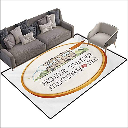 - Bath Rug Home Sweet Home Embroidery Hoop Cross Stitch Needlework Sewing Design Trailer Home Print Non-Slip Backing W78 xL94 Multicolor