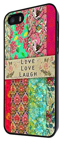 583 - Shabby Chic Vintage Live Love Laugh Floral Roses Design iphone 4 4S Coque Fashion Trend Case Coque Protection Cover plastique et métal - Noir