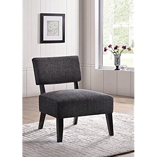 Kings Brand Furniture Upholstered Oversized Armless Accent Chair, Gray/Black