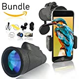 GrayLu HD Smart Monocular 12x50 Compact High Power Dual Focus Zoom Scope -|- with Phone Adapter and Tripod -|- Universal Mount, Monoscope Lens, Best Kids Telescope, Monoculars for Adults, Monoscopes