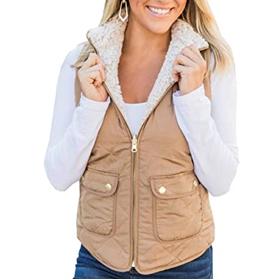 Ofenbuy Womens Reversible Vest Fuzzy Fleece Zip Up Sleeveless Lightweight Casual Fall Jackets Outerwear with Pockets at Women's Coats Shop