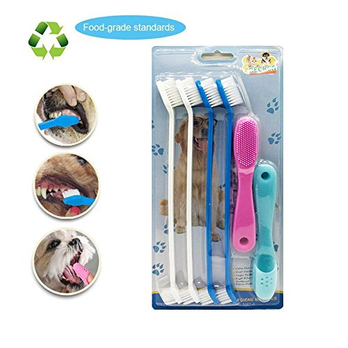 BECREA Dog toothbrush,silicone finger toothbrushes set,for s