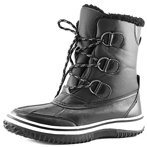 Women's DailyShoes Lace Up Ankle High Mid Calf Artic Warm Fur Water Resistant Eskimo Snow Boots, (D-ring Lace Up Ankle Boot)