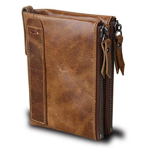 Genuine Leather Short (Men RFID Blocking Wallet Small Vintage Genuine Leather Short Purse Bifold Wallet Card Holder (Brown))