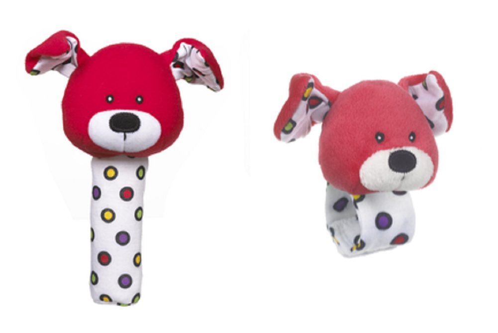 Lookie-Loos Animal Squeaker and Wrist Rattle Set (2 Pcs) (Red Dog)