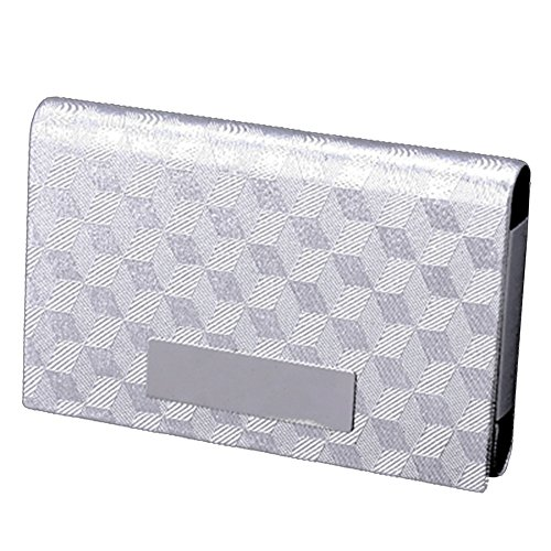MGStyle Business Card Holder Case - Magnetic - Silver Tone - Stainless Steel - Minimalist For Men Or Women