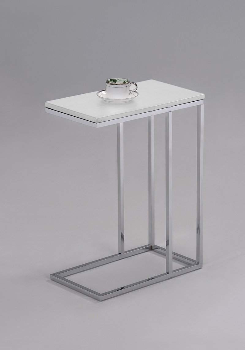 SoSo-BanTian1989 White Finish Chrome Snack Side End Table
