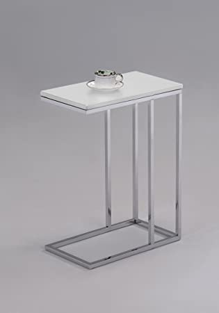 Nice White Finish Chrome Snack Side End Table
