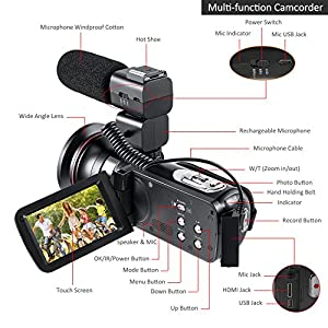 DOCAM 1080P Video Camcorder HD Night Vision Camera with External Microphone Wide Angle Lens