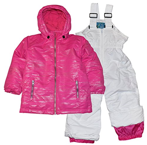 2 Piece Snowsuit Set (Pulse Toddler and Little Girls' 2 Piece Snowsuit Set Glitter Coat and Snow Bibs (Large/7, Pink/White))
