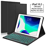 New iPad 10.2 7th Generation 2019 Keyboard Case - Boriyuan 7 Colors Backlit Detachable Keyboard Slim Leather Folio Smart Cover for iPad 10.2 Inch iPad Air 3 10.5