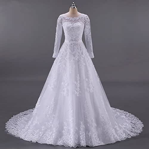 Amazon.com: Illusion Lace Bridal Wedding Dresses With Long