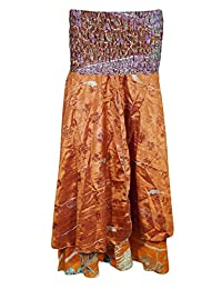 Mogul Womens Skirt Dress Orange Floral Print Strapless Vintage Sari Sundress