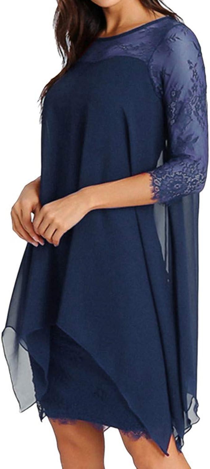 TWIFER Damen Mode Chiffon Kleid Einfarbig Sommerkleid Spitze Kleider  Übergröße S 19XL