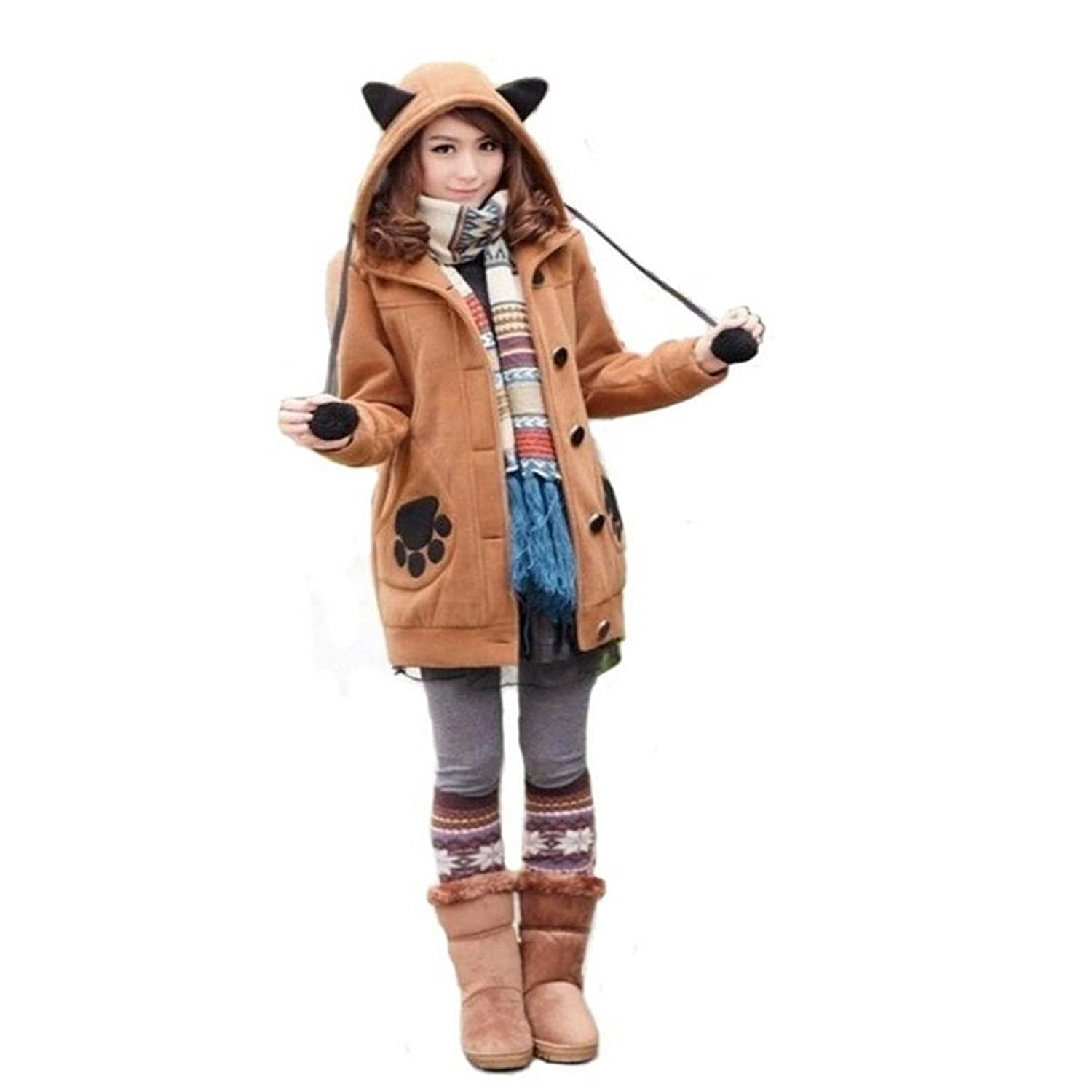 Meimush Lovely Girl Bunny Ear Jacket (S, Brown)