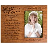 Personalized gift for Godparents from Godchild Baptism Photo Frame My Godparents you hands guide me in Faith and in Love Cherry picture frame holds 4x6 photo
