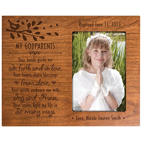 Personalized gift for Godparents from Godchild Baptism Photo Frame My Godparents you hands guide me in Faith and in Love Cherry picture frame holds 4x6 photo by LifeSong Milestones