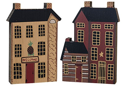 (Hearthside Collection 3 Primitive Country Wooden SALTBOX Town House Village Blocks)