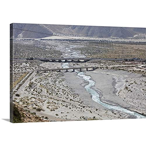 GREATBIGCANVAS Gallery-Wrapped Canvas Entitled The Whitewater River Flows Under The Interstate Outside of Palm Springs, CA by 18