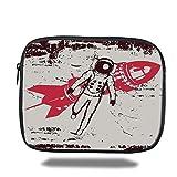 Laptop Sleeve Case,Vintage,Retro Space Travel Astronaut over the Planet Earth Original Solar Futuristic Art,Red Brown Cream,iPad Bag