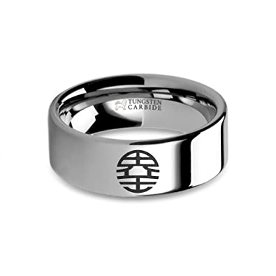 Dragon Ball Z King Kai Emblem Engraved Tungsten Wedding Band 8 Mm