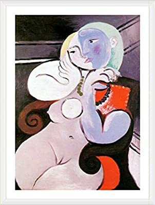 Alonline Art Nude Woman In A Red Armchair Pablo Picasso FRAMED Cotton Canvas For Home Decor READY TO HANG Wall Art Museum Quality Frame Frames