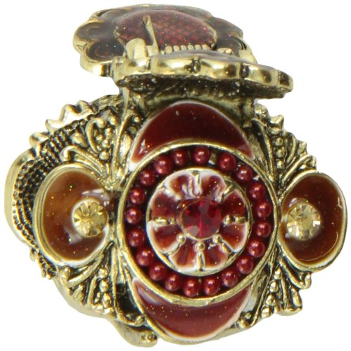 Caravan Small and Dainty Hair Claw Burgundy and Bronze Toppled with Rhinestone In Center 2268