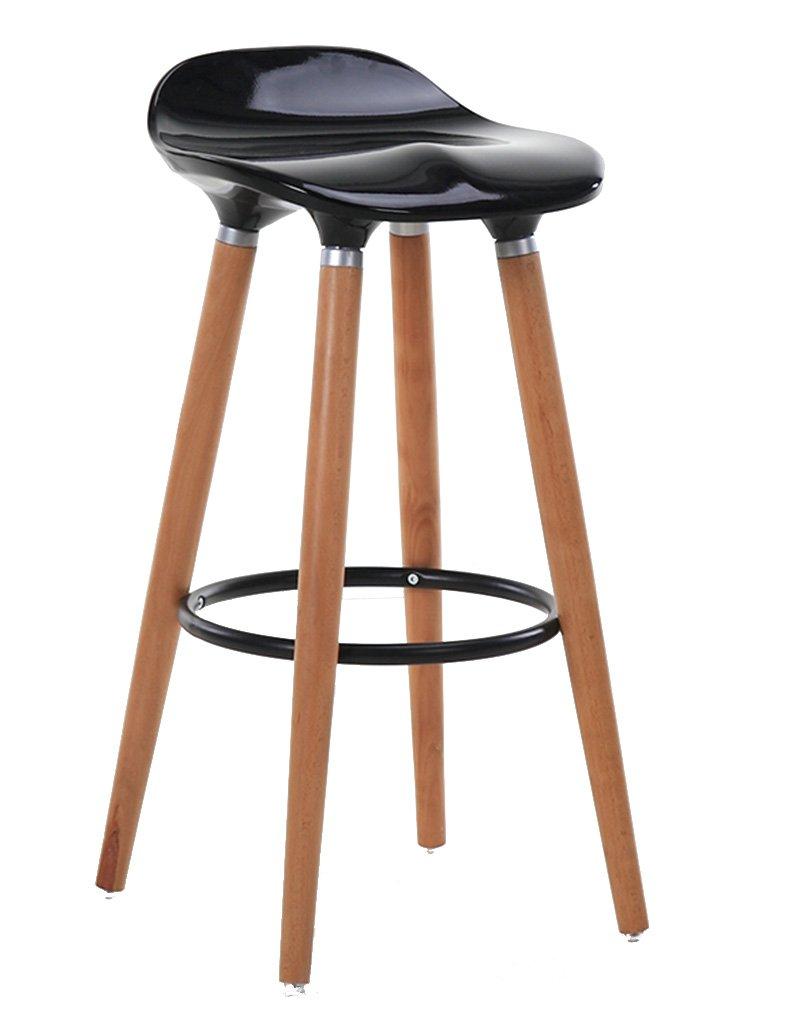 TH 現代のシンプルなバーチェアコーヒーショップハイスツールレザーフロントデスクバックチェア (色 : Black, サイズ さいず : Pack of 1-Seat height 73CM) B07F5TJRF2 Pack of 1-Seat height 73CM Black Black Pack of 1-Seat height 73CM