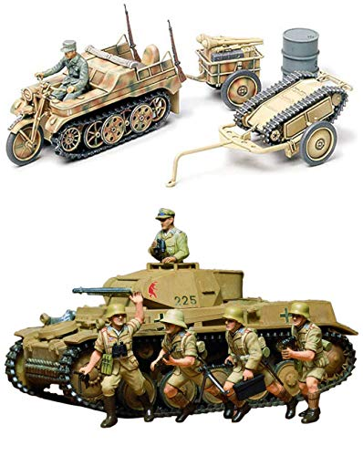 2 Sets of Tamiya Military Assembly Models - German Weapons - Panzer Kampfwagen and Kettenkraftrad with Infantry Cart & Goliath Demolition Vehicle (Japan Import)