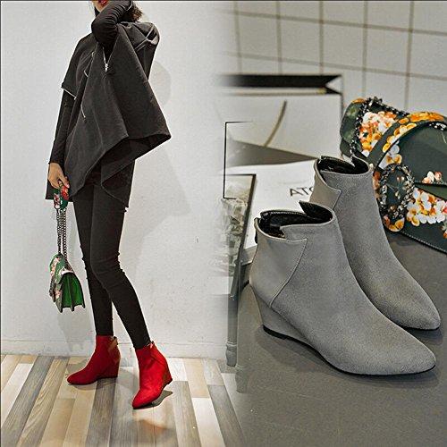 Moda Martin Boots Botines Botas Para Mujer,Cremallera,GJDE Grey