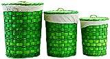 Arte Regal Import 11732–Round Laundry Basket, Set of 3, Green