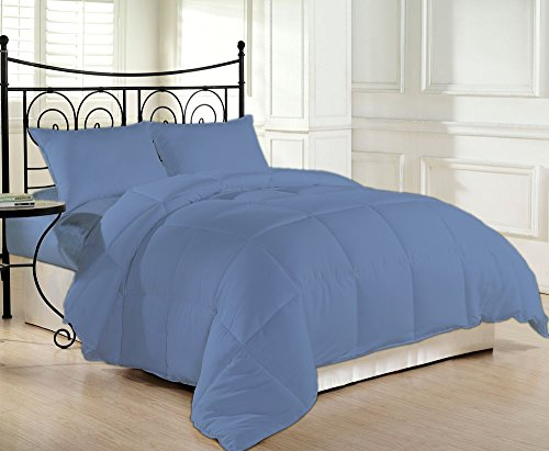 Egyptian Cotton Living Space - 800 Thread Count Luxurious and Cozy 100% Egyptian Cotton Comforter Mediterranean Blue California King By Kotton Culture Solid (Cocoon Feel 200 GSM Summer Weight Microfibre filling)