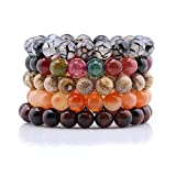 10mm Onyx Gem Stone Beads Unisex Bracelets Stretch Handmade Elastic Bracelet Set of 5