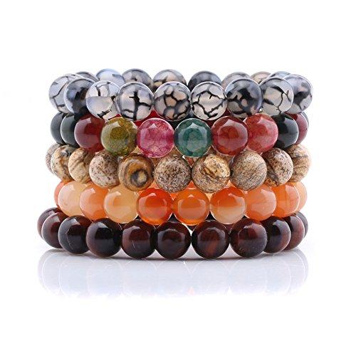 Qitian 10mm Onyx Gem Stone Beads Unisex Bracelets Stretch Handmade Elastic Bracelet Set of 5