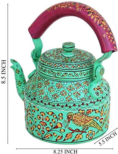Craftkriti Decorative Modern Designed made In India Tea Kettle Figurine Aluminium DECORATIVE TEA KETTLE Having Nature Design Home Décor by