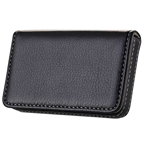 Wastar® Stylish Business Card Case Holder Premium Pu Leather Name Card Holder Case with Supple Gift Bag (Ideal for Gift) - Black